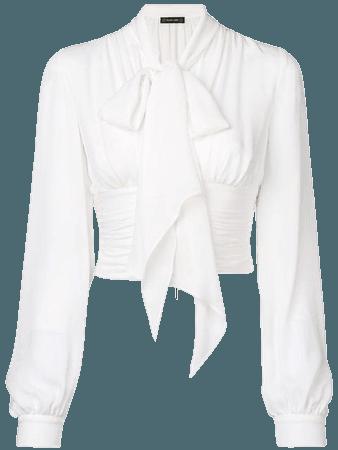 White bow blouse