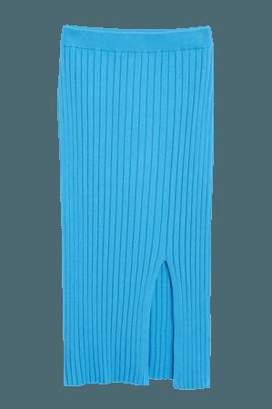 Ribbed midi skirt - Bright blue - Midi skirts - Monki WW