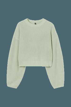 Rib-knit Sweater - Light green - Ladies | H&M US