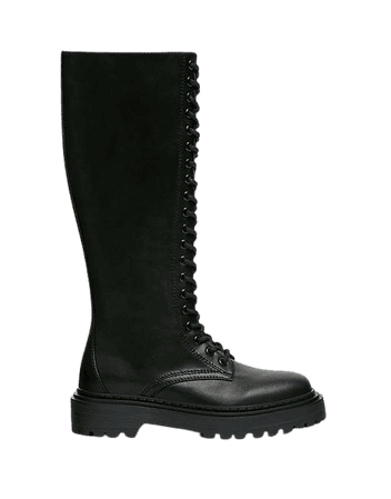 Pull&Bear knee high lace up flat boots in black | ASOS