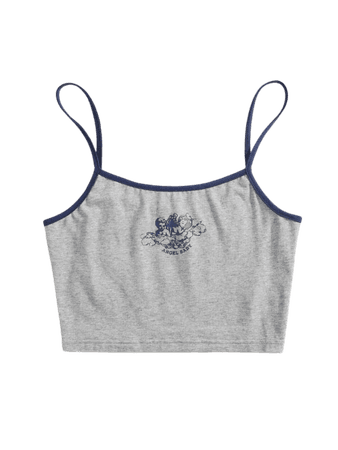 grey Angel & Letter Graphic Crop Ringer Cami Top | SHEIN USA