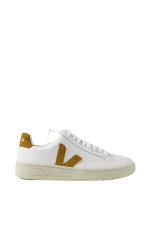 Net Sustain V-12 Suede-trimmed Leather Sneakers - White