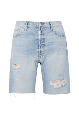 Le Slouch Bermuda Frayed Denim Shorts - Light denim
