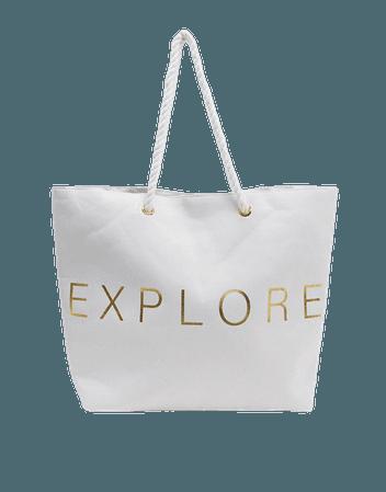 South Beach Exclusive Explore beach tote bag in white canvas | ASOS