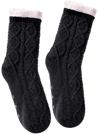 SDBING Women's Winter Super Soft Warm Cozy Fuzzy Fleece-lined Christmas Gift With Grippers Slipper Socks (Black) at Amazon Women's Clothing store:
