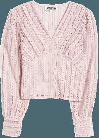 Amy Lynn Crochet Balloon Sleeve Blouse | Nordstrom