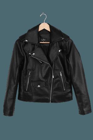 Black Moto Jacket - Vegan Leather Jacket - Motorcycle Jacket - Lulus