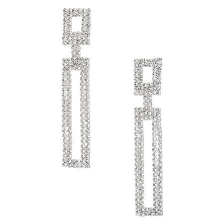 """Silver 2"""" Rhinestone Double Rectangle Drop Earrings 