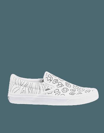 Vans Classic Slip-On U-Paint sneakers in white leopard/zebra   ASOS