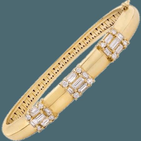 18 Karat Yellow Gold Diamond Clarity Bangle Bracelet