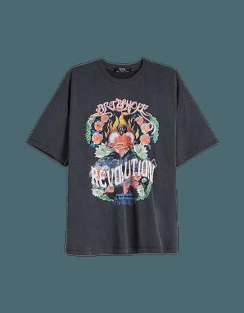 Short sleeve T-shirt with heart print - Tees and tops - Woman   Bershka