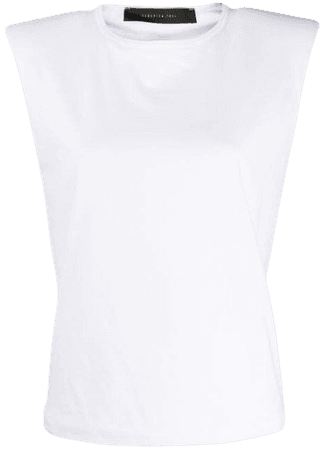 Federica Tosi Padded Shoulder Round Neck Top FTE20TS1200JE0081 White | Farfetch