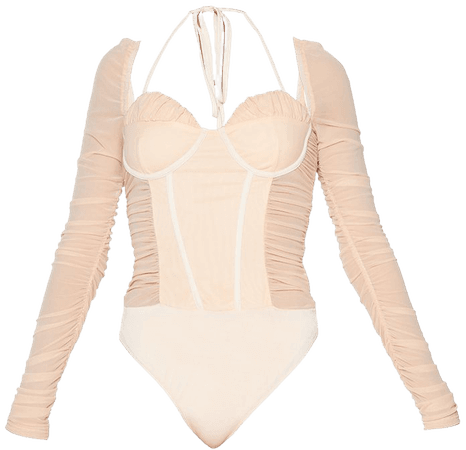 Nude Extreme Halterneck Cup Long Sleeve Bodysuit | PrettyLittleThing USA