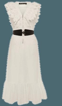 Broderie And Ruffle Detail Maxi Dress   Karen Millen
