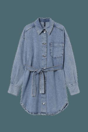 Cotton Shirt Dress - Blue