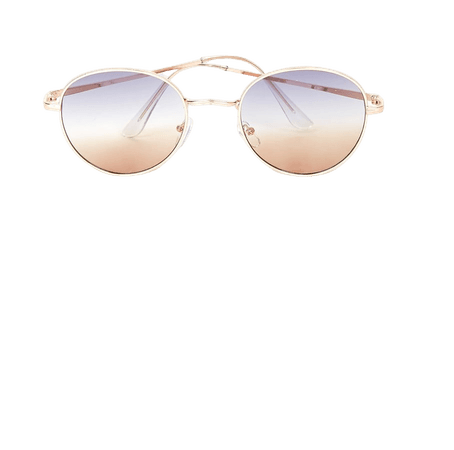 Brown and Gold Sunglasses - Round Sunglasses - Gold Sunnies - Lulus