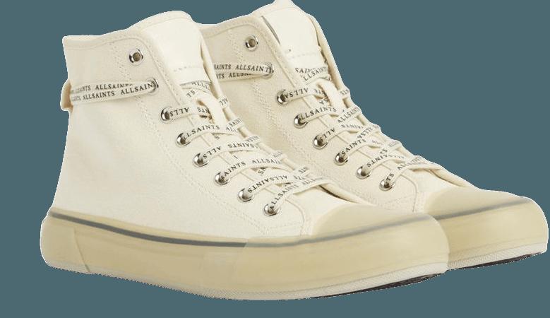 ALLSAINTS US: Womens Jaxal High Top Canvas Sneakers (white)