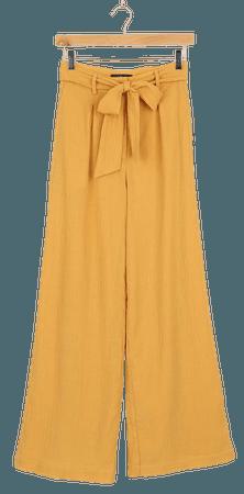 Cute Golden Yellow Pants - Belted Pants - Wide-Leg Pants - Lulus