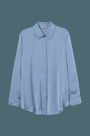 H&M+ Satin Shirt - Blue