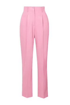 Pink Marlene pleated twill tapered pants | Temperley London | NET-A-PORTER