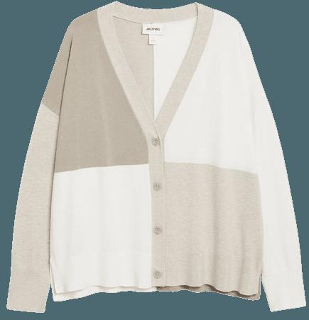 Fine knit cardigan - Beige and white - Cardigans - Monki WW