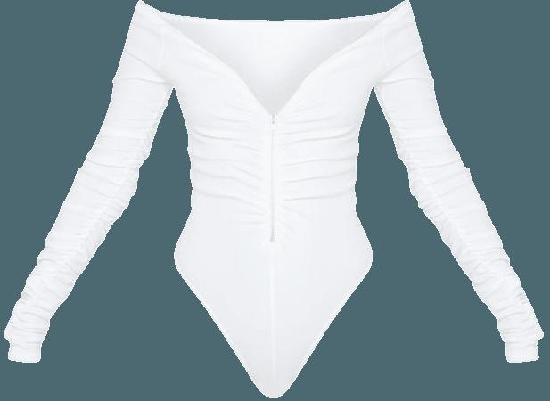 White Bardot Zip Ruched Sleeve Bodysuit   PrettyLittleThing USA