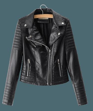 Faux Leather Biker Jacket | ROMWE USA