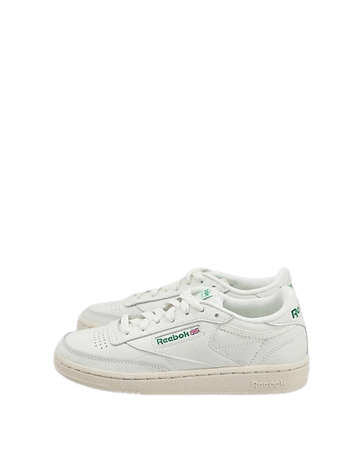 Reebok Classic Club C Vintage Sneakers In Chalk With Green   ASOS