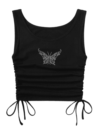 Butterfly Rhinestone Ruched Drawstring Knot Crop Top | SHEIN USA