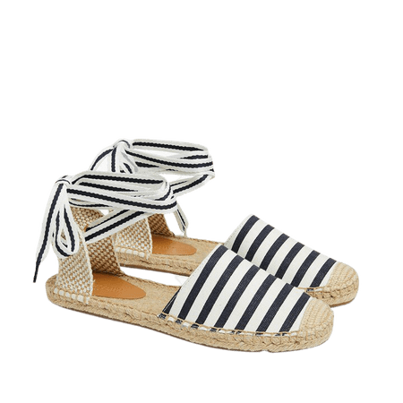 Striped d'Orsay lace-up espadrilles