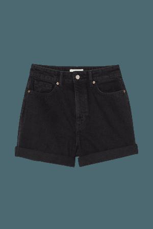Mom High Denim Shorts - Dark denim gray - Ladies   H&M US