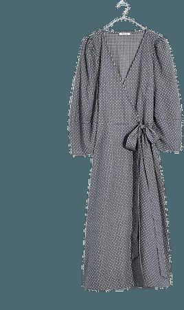 Textured Dot Wrap Midi Dress