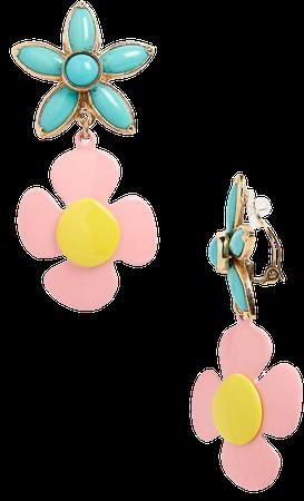 Floral Drop Clip Earrings