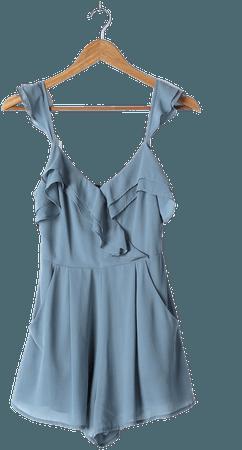 Slate Blue Romper - Surplice Romper - Ruffled Romper - Lulus