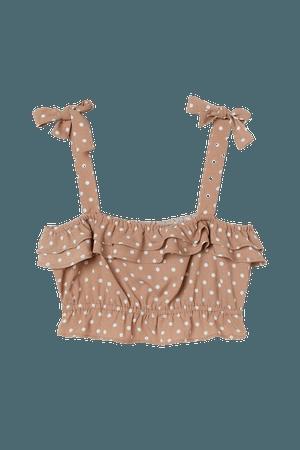 Crop Top - Beige/dotted - Ladies   H&M US