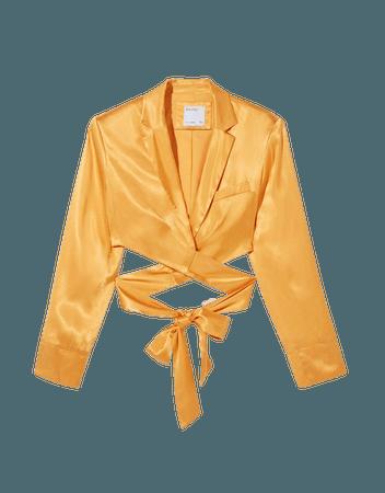 Cropped satin blazer - New - Woman | Bershka
