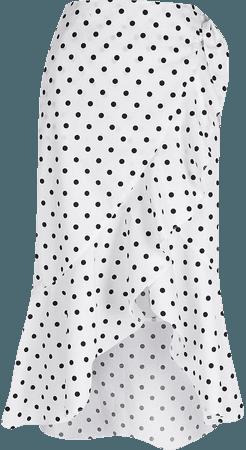 White spot print wrap midi skirt | River Island