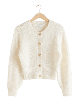 Bouclé Knit Cropped Cardigan - Off White - Cardigans - & Other Stories
