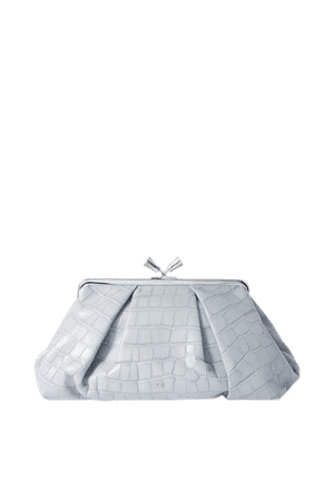 Maud Croc-effect Leather Clutch - Blue