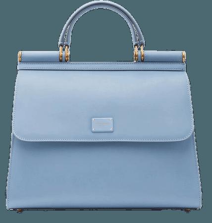 Women's Handbags in Azure | Large calfskin Sicily 58 bag | Dolce&Gabbana