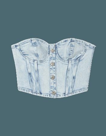 Denim top with rhinestone buttons - NEW - Woman | Bershka