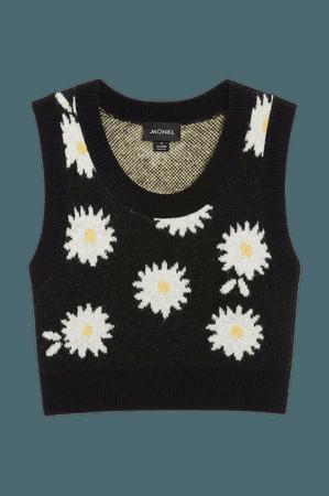 Knit vest - Daisy flower print - Knitted tops - Monki WW