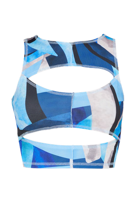 Blue Rib Abstract Print Cut Out Sleeveless Crop Top   PrettyLittleThing USA