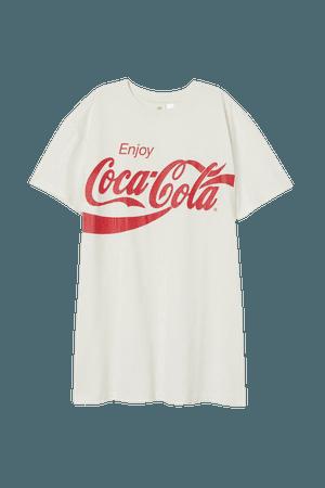 Printed T-shirt Dress - White/Coca-Cola - Ladies | H&M US
