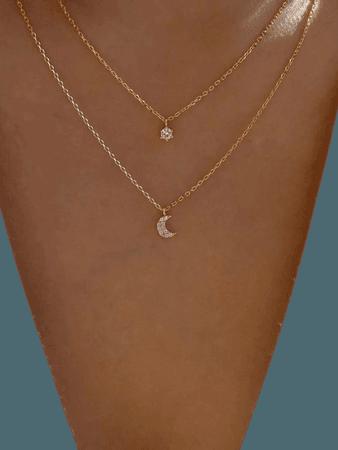 Rhinestone Moon Charm Layered Necklace | SHEIN USA