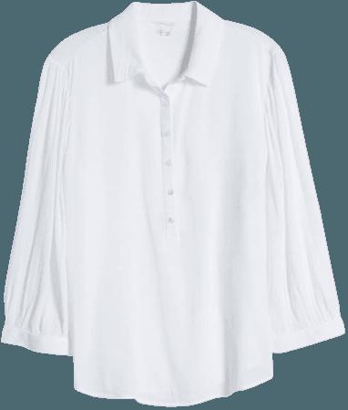 Caslon® Button Front Gauze Tunic Top | Nordstrom
