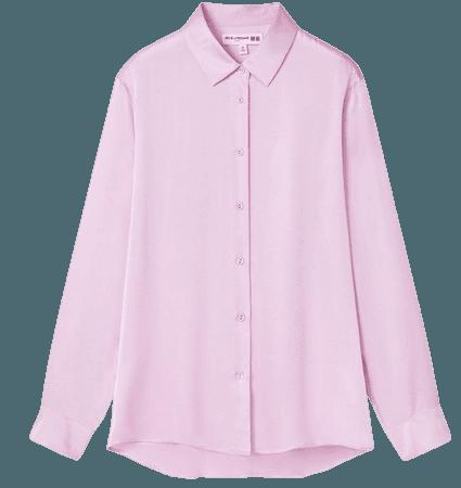 pink WOMEN SILK LONG-SLEEVE BLOUSE (INES DE LA FRESSANGE) | UNIQLO US