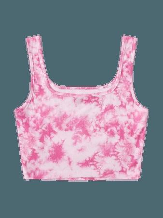 Rib-knit Tie Dye Crop Tank Top | SHEIN USA pink