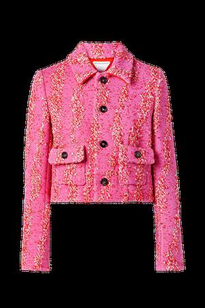 Pink Cropped bouclé jacket | Bottega Veneta | NET-A-PORTER