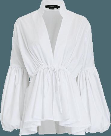 No Pise La Grama De Mi Letra Puff Sleeve Cotton Blouse   INTERMIX®